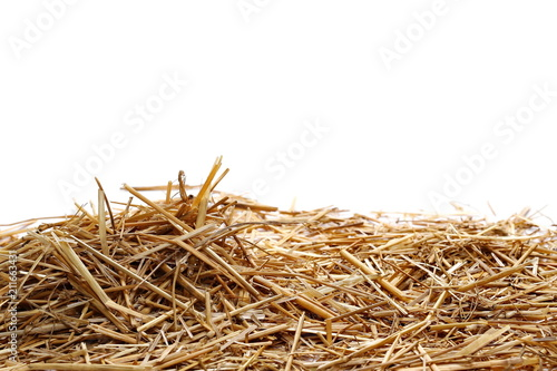 Obraz na płótnie Straw pile isolated on white background and texture, clipping path