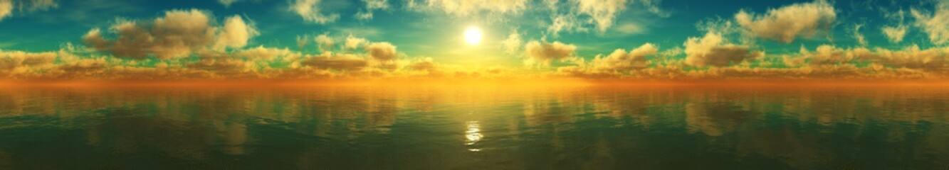 FototapetaPanorama of sea sunset, ocean sunrise, seascape, 3d rendering