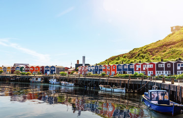 typical colorful houses at waterfront on Helgoland island