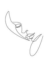 Female Face Contour Line Vector Art