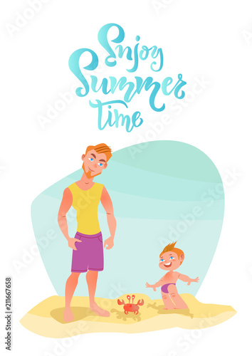 Family Characters On The Beach Enjoy Summer Time Lettering Quote