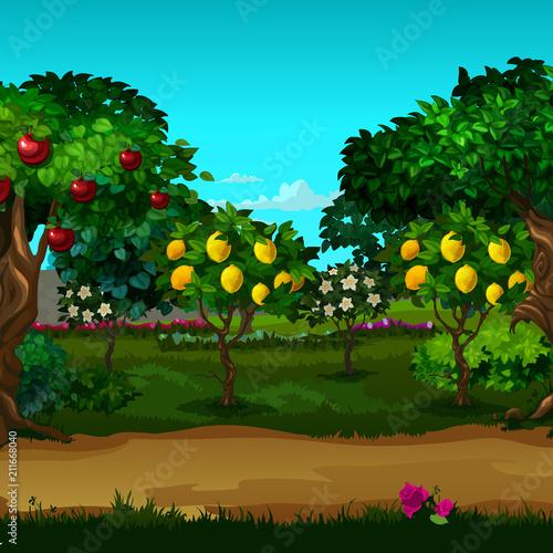 A garden with ripe fruit. Vector cartoon close-up illustration. Fototapet