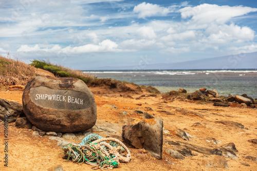 Shipwreck beach in Lanai island, Hawaii. Tourist attraction. Slika na platnu