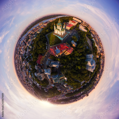Spoed Foto op Canvas Kiev Full aerial view panorama 360 degrees of Kiev city, St. Andrew's Church, Andrew's descent and the historical part of the city in the equiangular spherical projection.