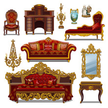 A Set Of Furniture Red Color F...