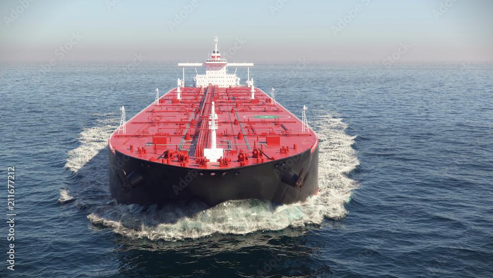 Fototapety, obrazy: oil tanker floating in the ocean, 3d illustration