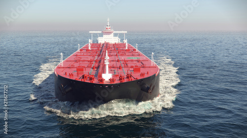 oil tanker floating in the ocean, 3d illustration