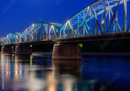 Fotografie, Obraz  Toruń Nocą - Most Na Wiśle - Polska