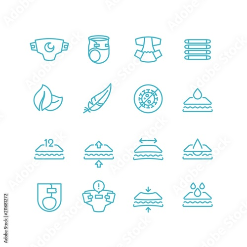 Photo Disposable baby diaper and characteristics line icons