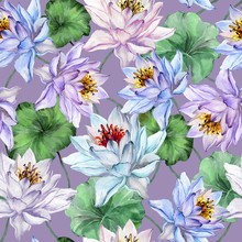 Beautiful Tropical Floral Seamless Pattern. Large Blue And Purple Lotus Flowers With Leaves On Light Purple Background. Hand Drawn Illustration. Watercolor Painting.