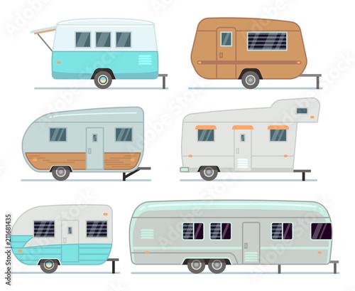 Fototapeta Rv camping trailers, travel mobile home, caravan vector set isolated