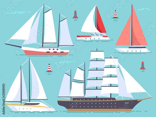 Transportation sailboats, yacht, sailing cruise ship Fototapeta