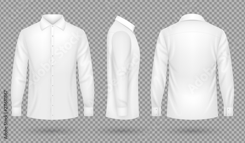 Fotomural White blank male shirt with long sleeves in front, side, back views