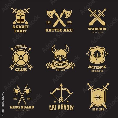 Fotografie, Obraz Vintage golden warrior sword and shield labels