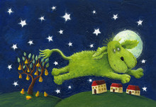 Happy Green Dog Jumping - Night Scene