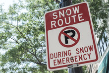 Street Sign Snow Route During ...