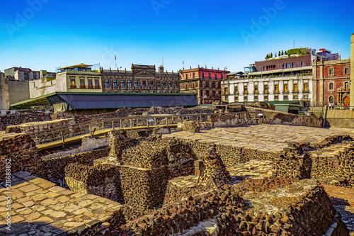 Papiers peints Amérique Centrale Mexico. The City of Mexico (CDMX). The ruins of the Templo Mayor (UNESCO World Heritage Site)