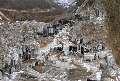 Deurstickers Toscane Air view of abandoned marble quarry, Apuan Alps, Tuscany