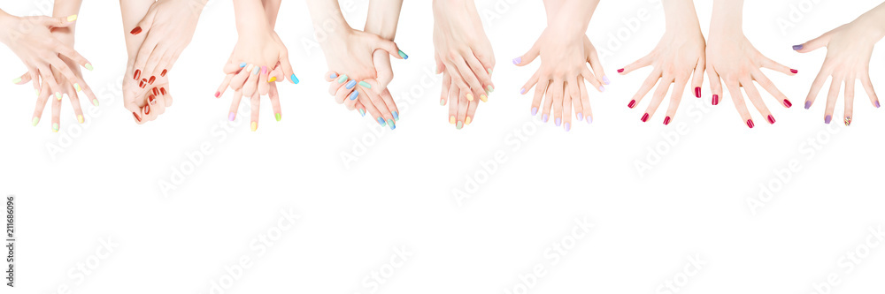 Fototapety, obrazy: Hands with colored nail polish set in the row