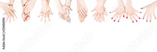 Printed kitchen splashbacks Manicure Hands with colored nail polish set in the row