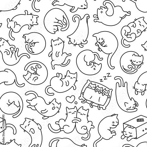 fototapeta na lodówkę Cute Sleeping Cat Outline Seamless Pattern And Background
