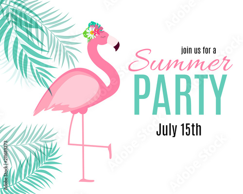Photographie Abstract Summer Party Background with Palm Leaves and Flamingo