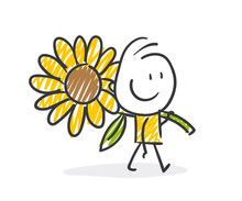 Strichfiguren / Strichmännchen: Sonnenblume. (Nr. 275)