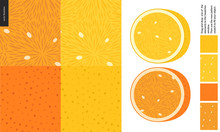 Food Patterns, Summer - Fruit, Lemon And Orange Texture, Half Of Lemon And Orange On Side- Four Seamless Patterns Of Pulp Full Of White Seeds, Rind With Little Holes, Yellow And Orange Background