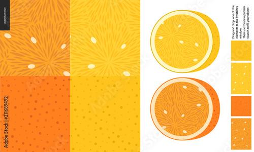 Fotografia  Food patterns, summer - fruit, lemon and orange texture, half of lemon and orang