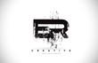 ER E R Grunge Brush Letter Logo Design in Black Colors Vector Illustration.