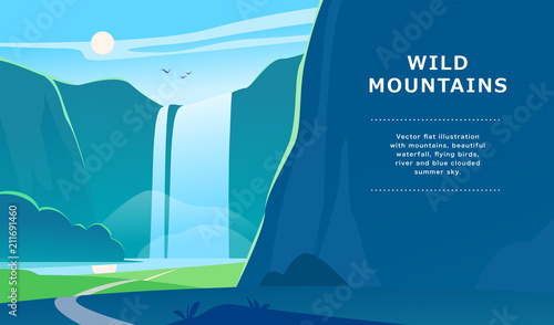 Fényképezés Vector flat summer landscape illustration with waterfall, river, mountains, sun, forest on blue clouded sky