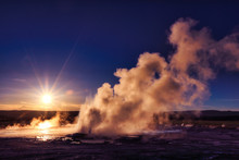 Clepsydra Geyser In The Lower Geyser Basin At Yellowstone National Park Erupts Almost Continuously And Looks Spectacular At Sunset At This Park In Wyoming.