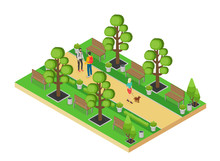 Vector Isometric Element Of Green Park With Alley And People Walking Isolated On White Background.