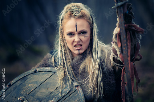 Mad furious viking woman warrior in the attack Wallpaper Mural