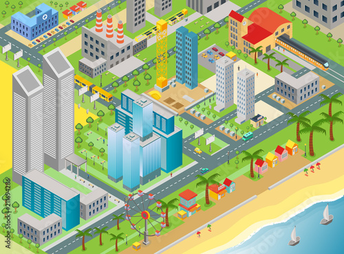 Poster Op straat Isometric vector of city map with modern buildings and beach area with amusement park.