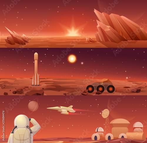 Vászonkép Red planet Mars colonization and exploration
