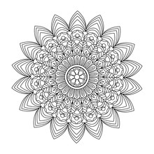 Vector Illustration Of A Black And White Mandala For Coloring Book Adult Anti Stress