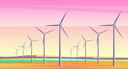 Fototapeta samoprzylepna Vector illustration with rotation windmills for alternative energy resource in spacious field with pink sunset sky. Film camera noise effect.