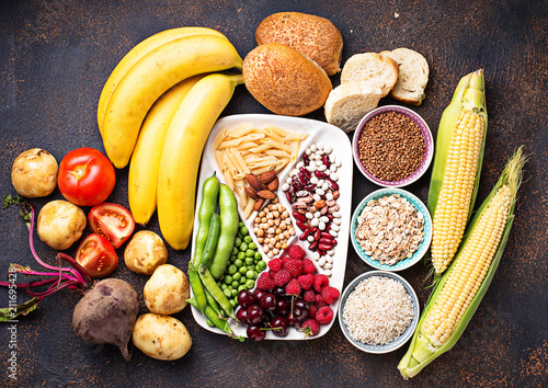 Cuadros en Lienzo  Healthy products sources of carbohydrates.