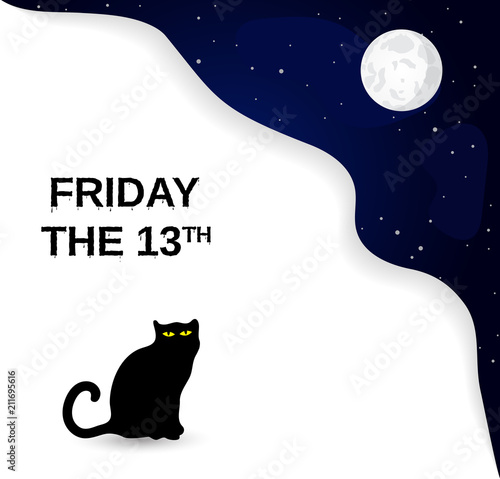 Poster  Friday the 13th poster with black cat and full moon