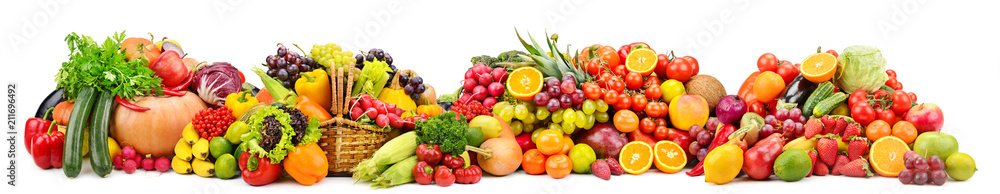 Fototapeta Large collection fresh fruits and vegetables useful for health isolated on white