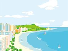 ハワイ 風景イラスト