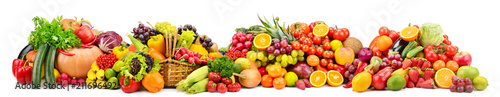 Foto op Aluminium Vruchten Large collection fresh fruits and vegetables useful for health isolated on white