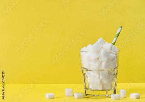 Fototapeta Glass sugar cubes Weight control diet health detox concept obraz
