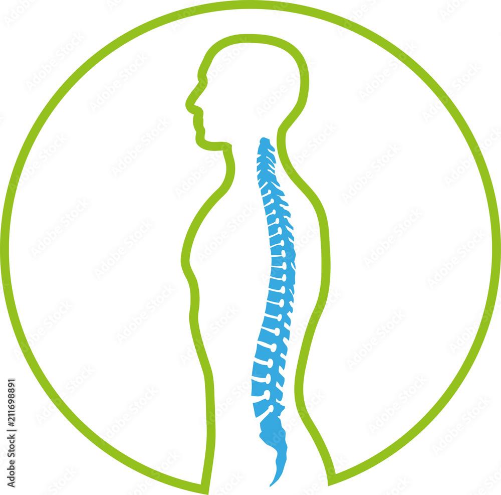 Person Und Wirbelsäule Rücken Orthopädie Logo Zeichen Foto
