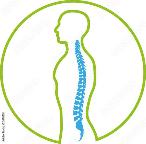 Obraz na plátně Person und Wirbelsäule, Rücken, Orthopädie, Logo, Zeichen