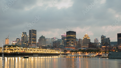 City View of the old port of Montreal at sunset, Montreal, Quebec, Canada
