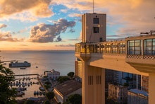 View Of The Lacerda Elevator With Beautiful Sunset - Salvador, Bahia Brazil