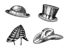 Summer Vintage Hats Collection For Elegant Men. Fedora Derby Deerstalker Homburg Bowler Straw Beret Captain Cowboy Porkpie Boater Peaked Cap. Retro Fashion Set. English Style. Hand Drawn Sketch.