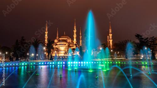 Plakat Stambuł, basen przed Błękitnym Meczetem